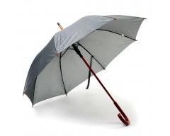 Зонт-трость с деревянной ручкой и автоматическим открытием серый