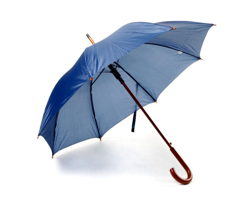 Зонт-трость с деревянной ручкой и автоматическим открытием синий