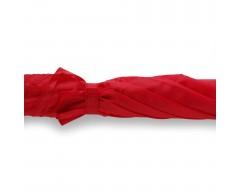 Зонт-трость с деревянной  изогнутой ручкой, красный