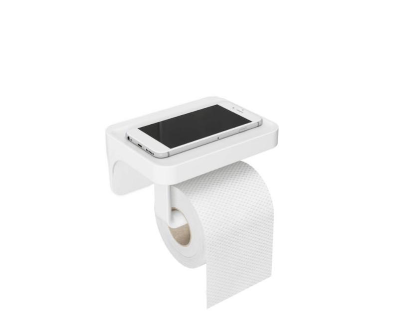 Держатель для туалетной бумаги с полочкой Flex белый