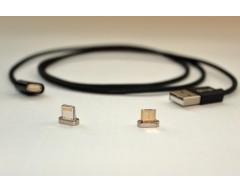Магнитный кабель Elough Magnetic черный Lightning и mUSB