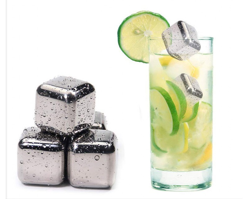 Стальные кубики для охлаждения напитков со щипцами